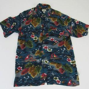 Bugle Boy Authentics Tropical Shirt Medium Vintage